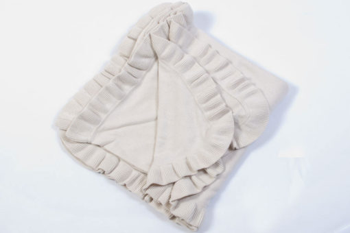 Pure Lambswool Frilled Edge Stole - 70x200cm - Natural White