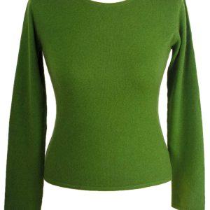 Ladies 100% Cashmere Roundneck - XS - Cactus/Willowbough