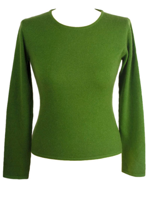 Ladies 100% Cashmere Roundneck - XS - Cactus/Willowbough