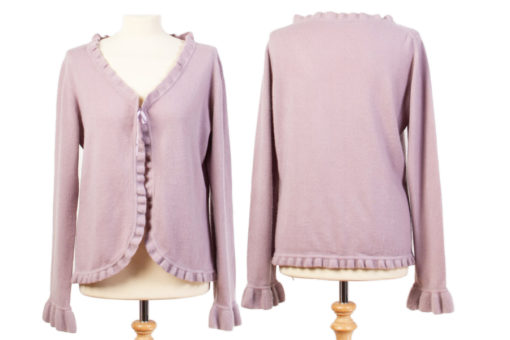 Frilled Edge Cardigan - Fair Orchid - XL - 100% Cashmere