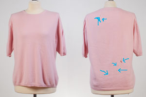 Ladies Round Neck With Short Sleeves - XL - Baby Pink - 100% Cashmere