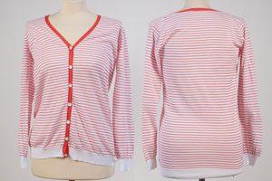 Ladie V-Neck Cardigan - Cotton - Medium - White With Orange Stripes