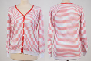 Ladie V-Neck Cardigan - Cotton - Medium - White With Orange Stripes