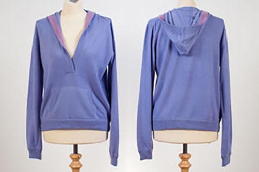 Ladies Hooded Top - Heron With Dusty Lavender Trim - XL
