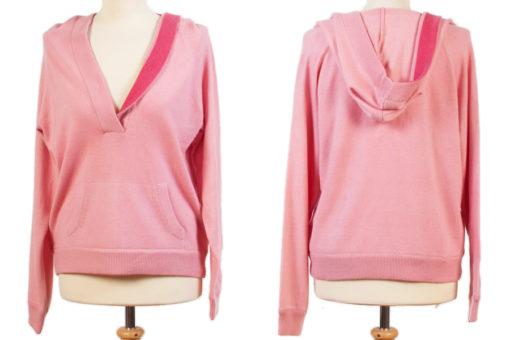 Ladies Hoody - Quartz Pink With Bright Rose Trim - XL