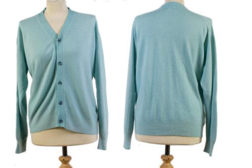 Ladies V-Neck Cardigan - Large - Light Turquoise