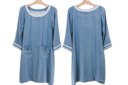 Childrens Two Tone Dress - XS -Chalk Blue/Light Blue Trim