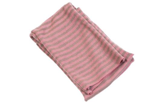 Knitted Long Striped Scarf - 20x230cm - Raspberry/Rabbit