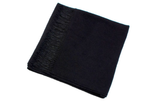 Pashmina with Beaded Tassels - Black - 70x200cm - 100% Cashmere