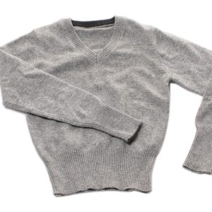 Childrens V-Neck - 6 Years - Grey - 100% Cashmere