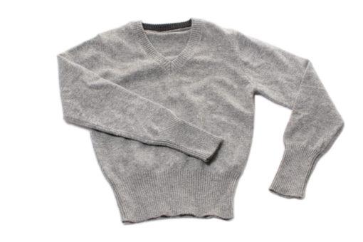 Childrens V-Neck - 6 Years - Grey - 100% Cashmere