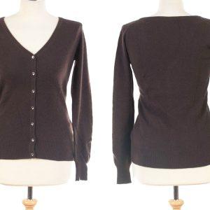 Ladies V-Neck Cardigan Shell Buttons - XXL - Dark Brown