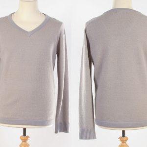 Mens V-Neck Jumper - Medium - Beige/Grey