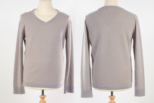 Mens V-Neck Jumper - Medium - Beige/Grey