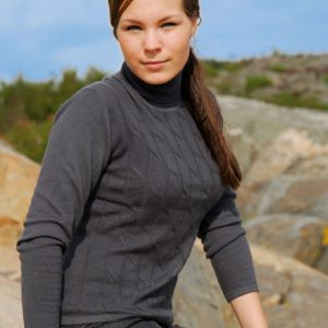 Ladies Cable Front Polo Neck - Medium - Melange Dark Grey