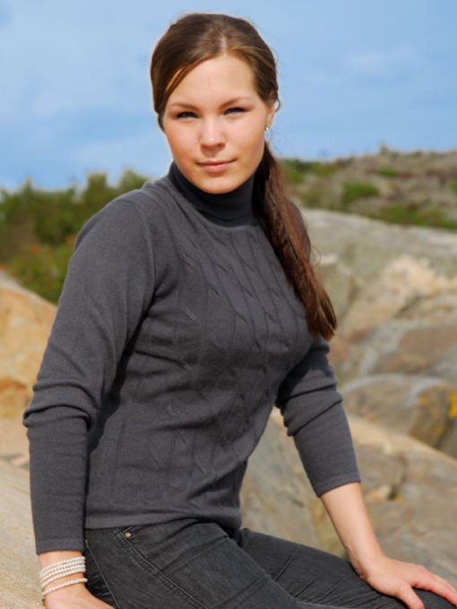 Ladies Cable Front Polo Neck - Medium - Melange Dark Grey
