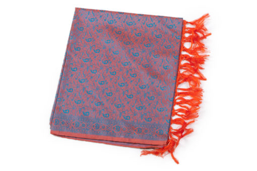 Varanasi Silk Stole - 54x180cm - Blue/Orange