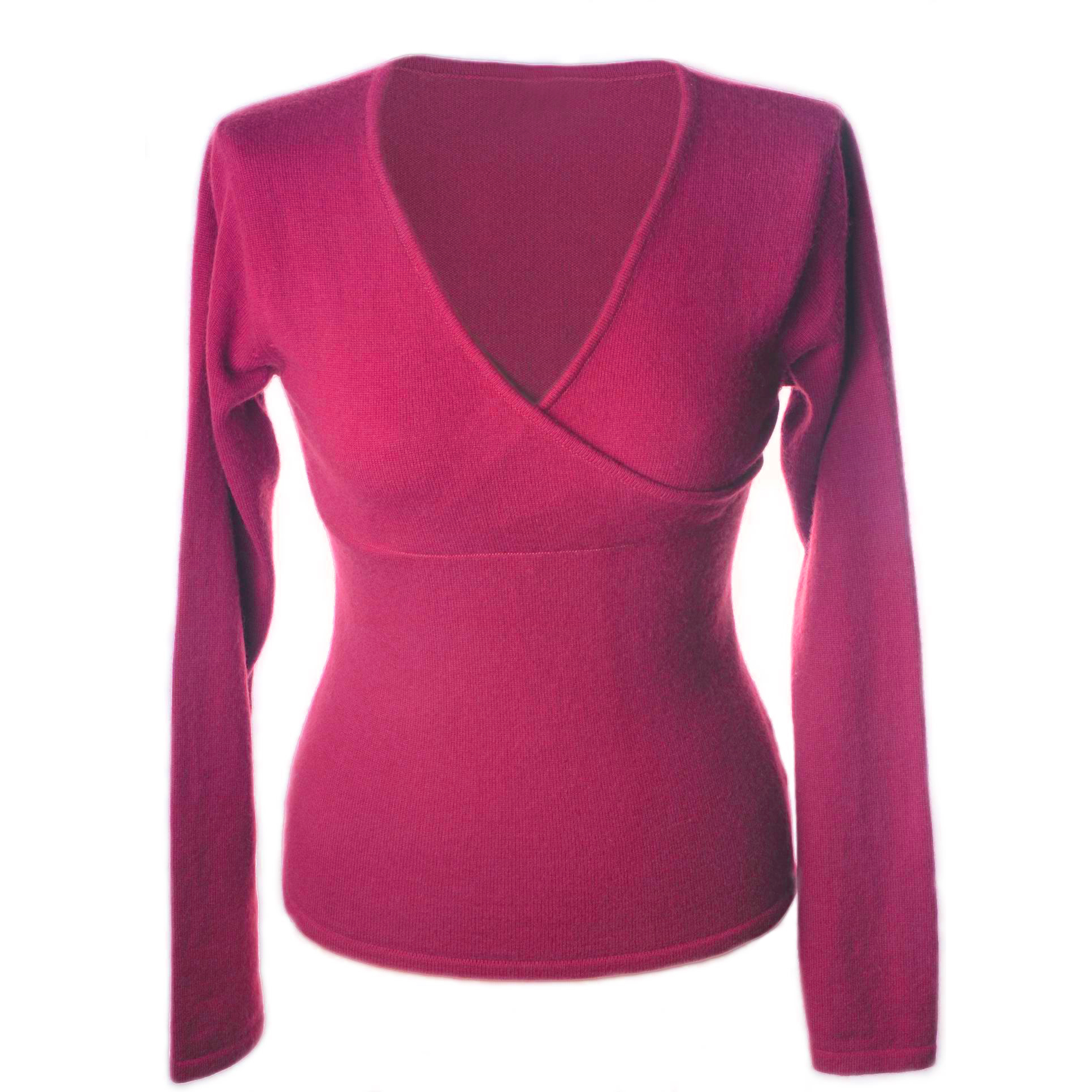 XXL - Ladies - Long Sleeve Crossover Top - Deep Orchid