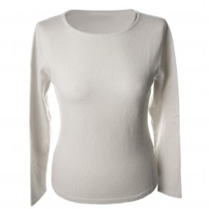 S - Ladies - Classic Round Neck - Natural White