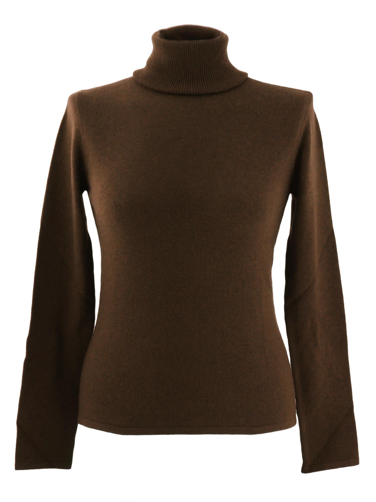 XL- Ladies - Polo Neck - Dark Chocolate