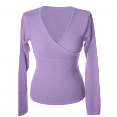 Ladies Longsleeve Crossover Top - Medium - Purple Heather