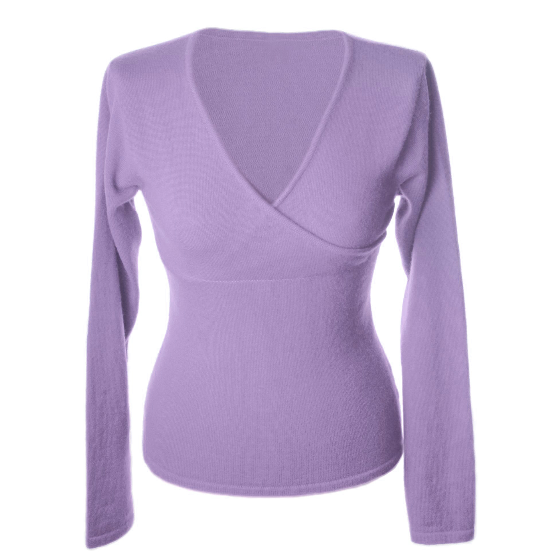 Ladies Longsleeve Crossover Top - Medium - Purple Heather