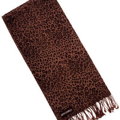 Pashmina Stole - 70x200cm - 70% Cashmere / 30% Silk - Nutmeg/Leopard