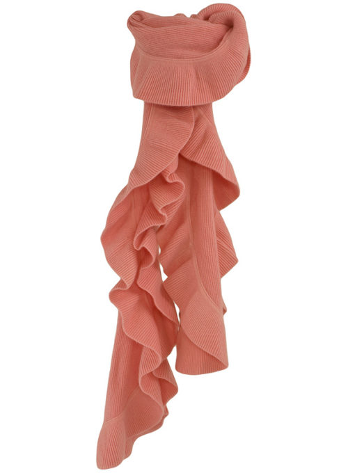 Frilled Edge Knitted Cashmere Scarf - 100% Cashmere - 32x150cm - Quartz Pink
