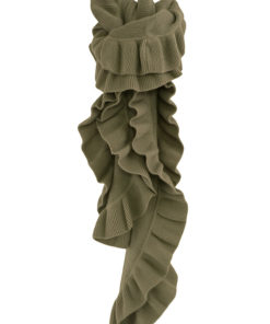 Frilled Edge Knitted Cashmere Scarf - 100% Cashmere - 32x150cm - Cinder