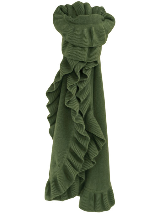 Frilled Edge Knitted Cashmere Scarf - 100% Cashmere - 32x150cm - Laurel Wreath