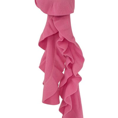 Frilled Edge Knitted Cashmere Scarf - 100% Cashmere - 32x150cm - Dry Rose